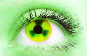 green toxic looking eye